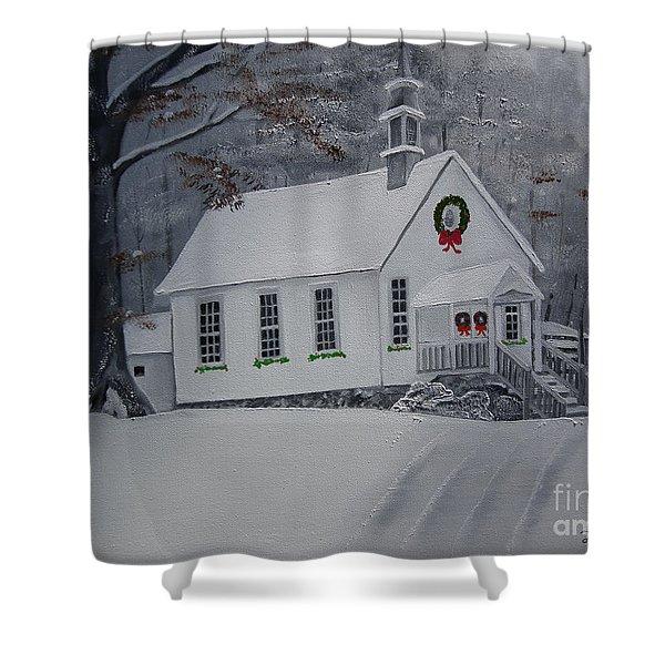 Christmas Card - Snow - Gates Chapel Shower Curtain