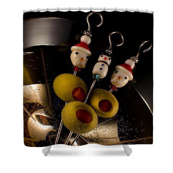 Christmas Crowded Martini Shower Curtain