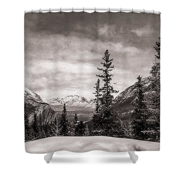 Christmas Day In Banff Bw Shower Curtain
