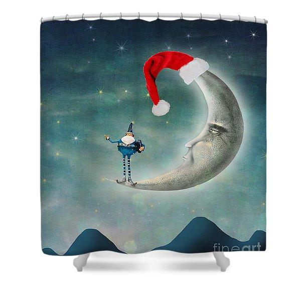 Christmas Moon Shower Curtain