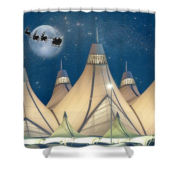 Christmas Night At Denver International Airport Shower Curtain