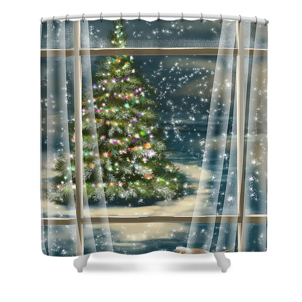Christmas Night Shower Curtain
