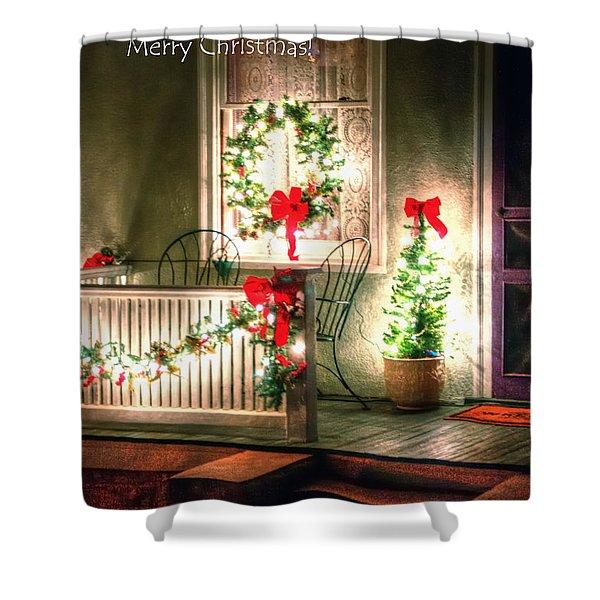 Christmas Porch Shower Curtain