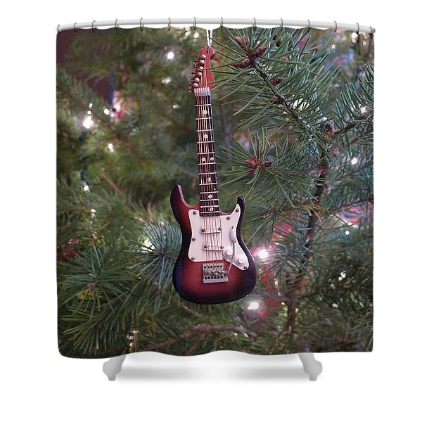 Christmas Stratocaster Shower Curtain
