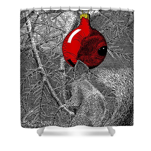 Christmas Tree Squirrel With Red Ornament Shower Curtain