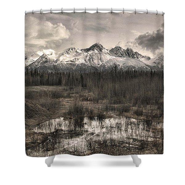 Chugach Mountain Range Shower Curtain