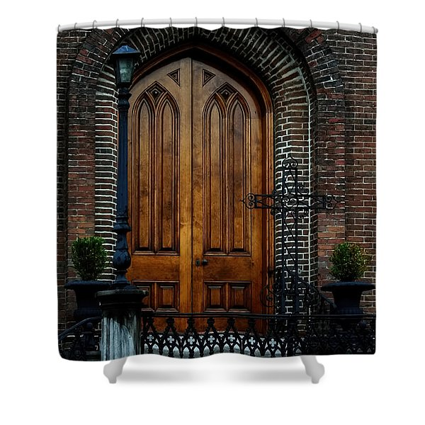 Church Arch And Wooden Door Architecture Shower Curtain