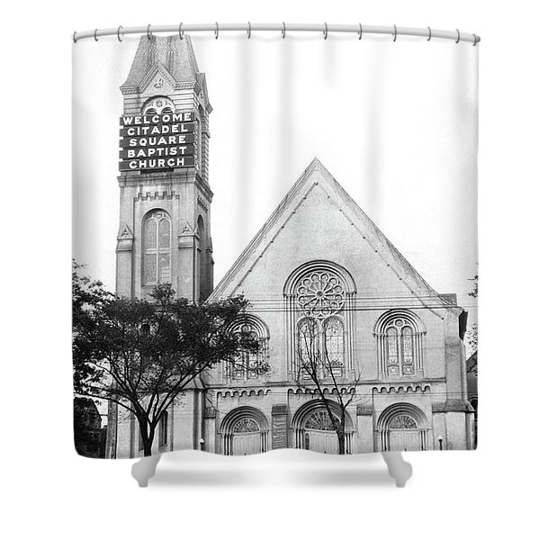 Church Has Electric Signage Shower Curtain