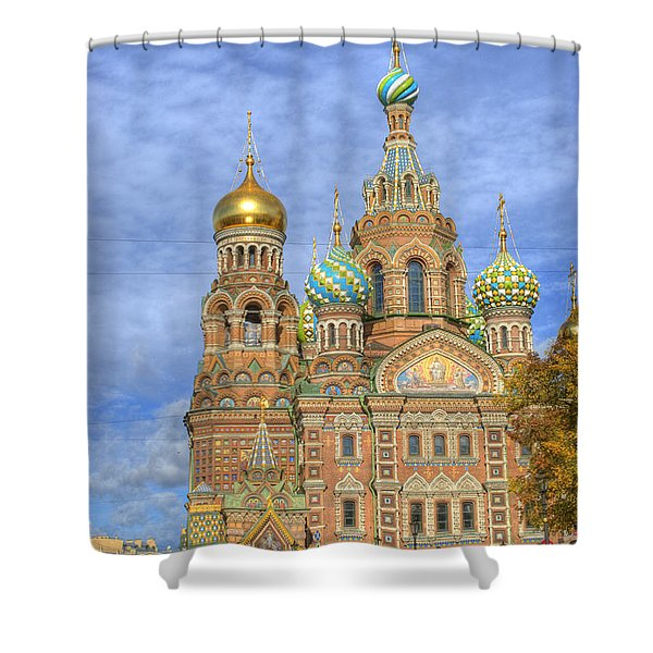 Church Of The Saviour On Spilled Blood. St. Petersburg. Russia Shower Curtain