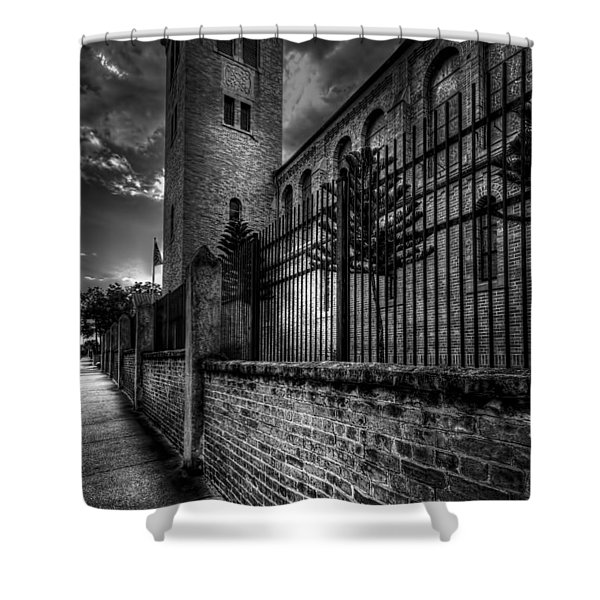 Church Tower In The Clouds Shower Curtain