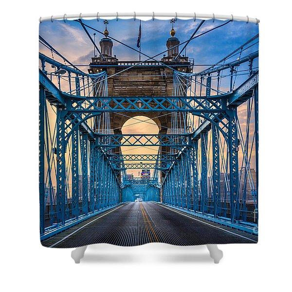 Cincinnati Suspension Bridge Shower Curtain