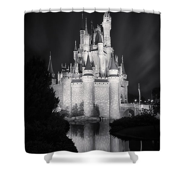 Cinderella's Castle Reflection Black And White Shower Curtain