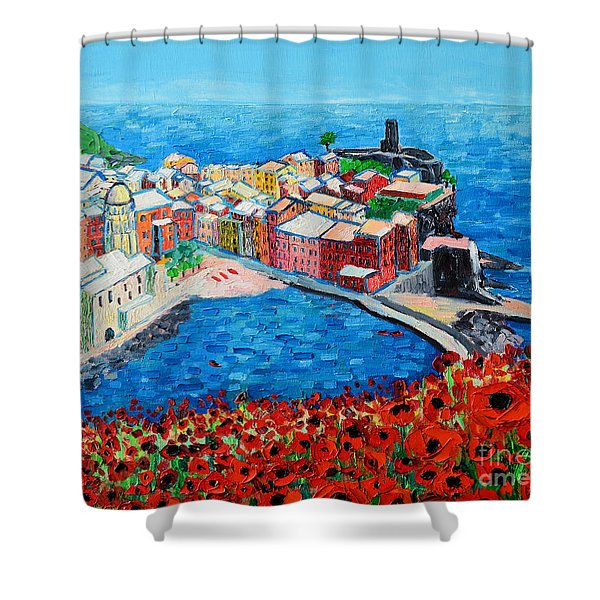 Cinque Terre Vernazza Poppies Shower Curtain