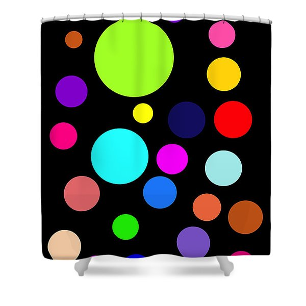 Circles On Black Shower Curtain