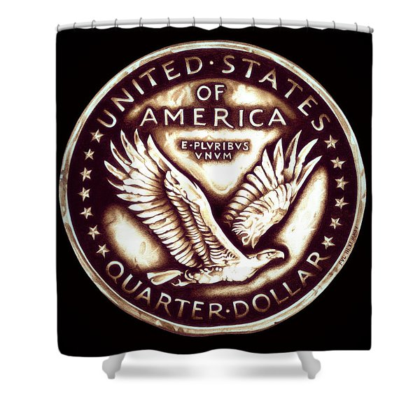 Circulated Standing Liberty  Reverse Shower Curtain