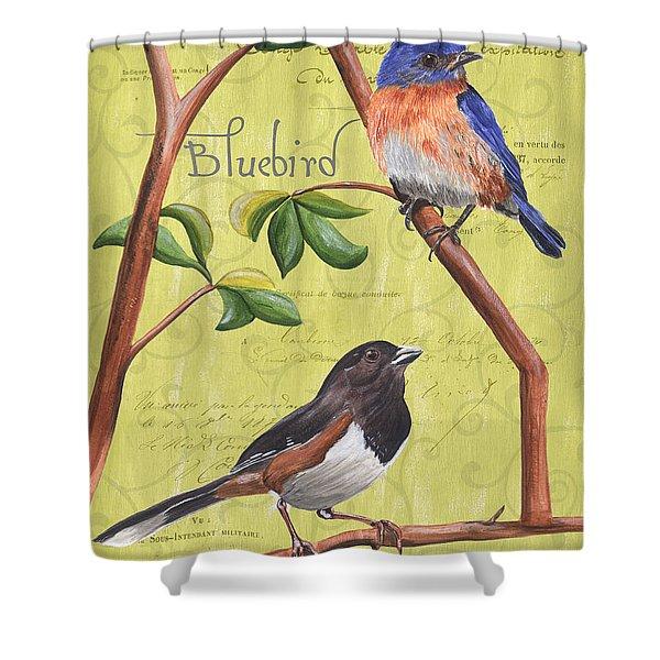 Citron Songbirds 1 Shower Curtain