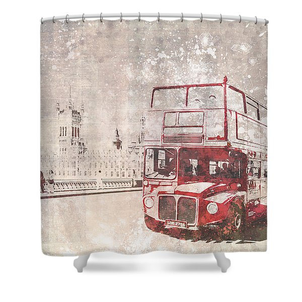 City-art London Red Buses II Shower Curtain
