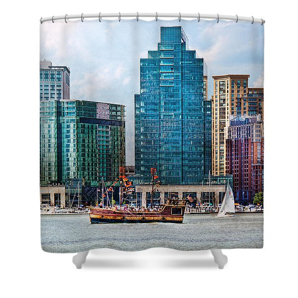 City - Baltimore Md - Harbor East  Shower Curtain