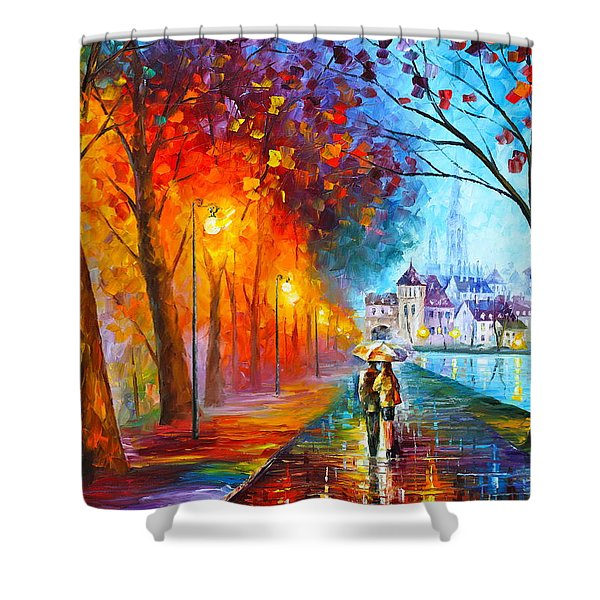 City By The Lake Shower Curtain