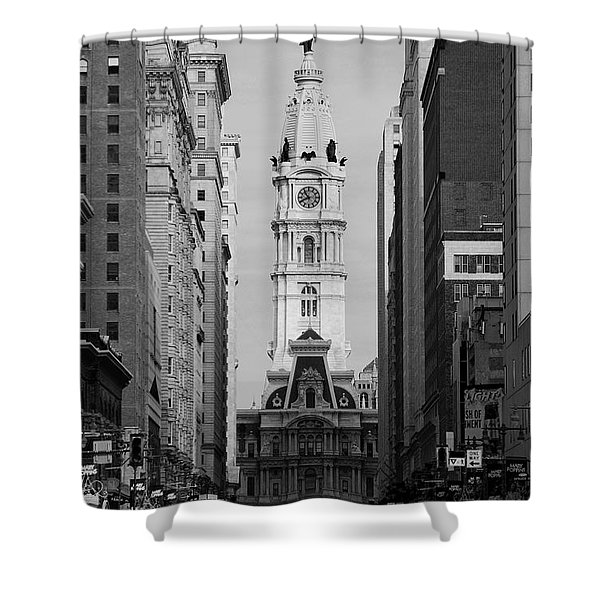 City Hall B/w Shower Curtain