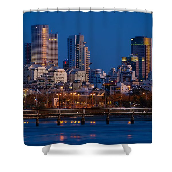 city lights and blue hour at Tel Aviv Shower Curtain