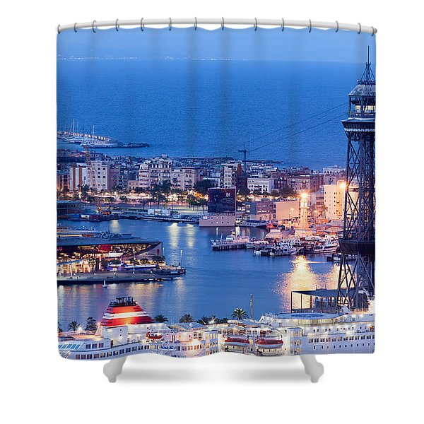 City Of Barcelona From Above At Night Shower Curtain