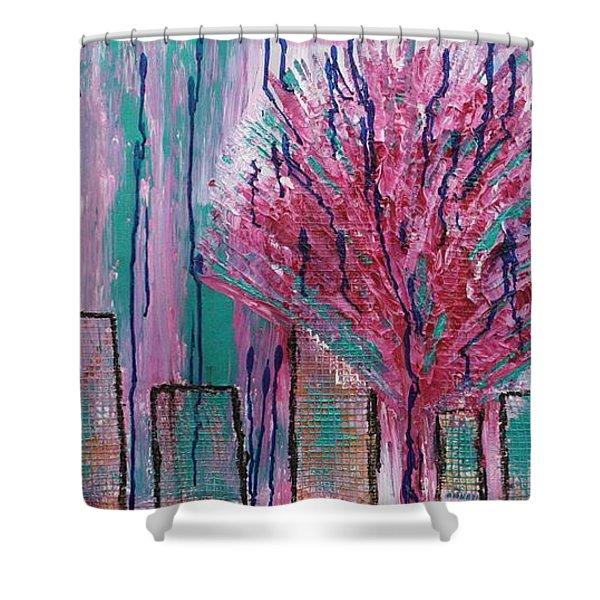 City Pear Tree Shower Curtain