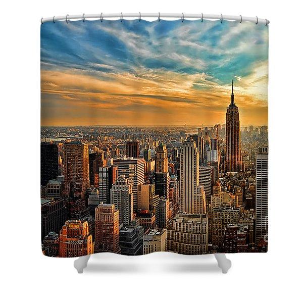 City Sunset New York City Usa Shower Curtain