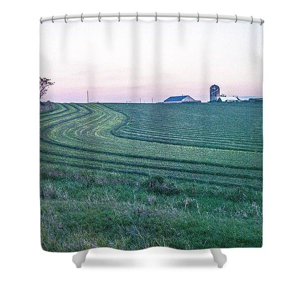 Farm Fields At Dusk Shower Curtain