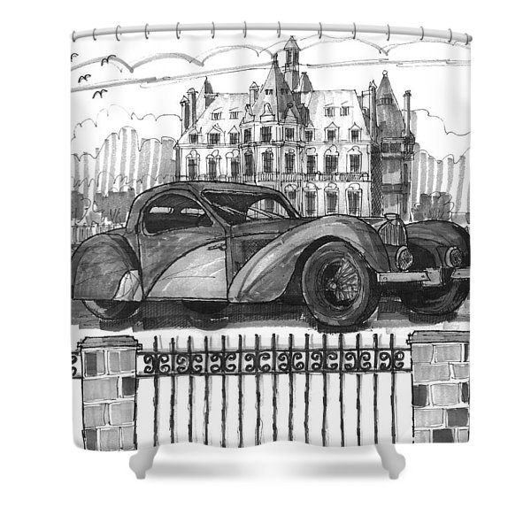 Classic Auto With Chateau Shower Curtain