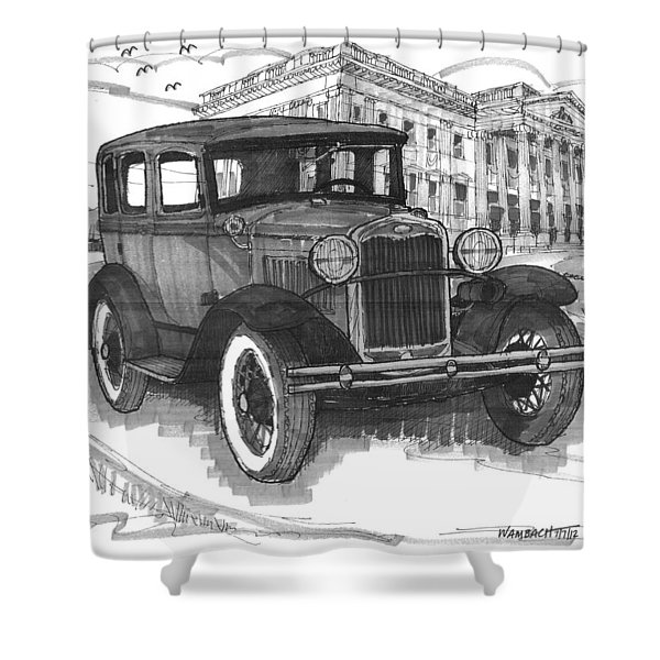 Classic Auto With Mills Mansion Shower Curtain