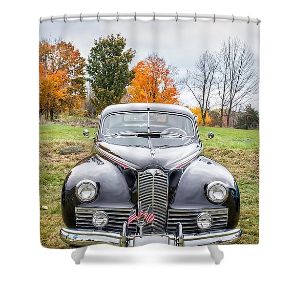 Classic Car In Autumn Farm Field Shower Curtain