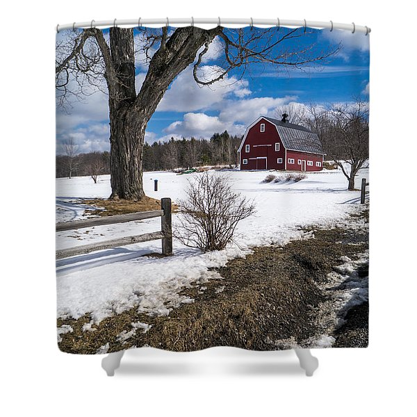Classic New England Farm Scene Shower Curtain