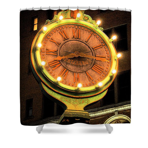 Classic Nostalgic Americana Clock Downtown San Antonio Ink Outlines Digital Art Shower Curtain