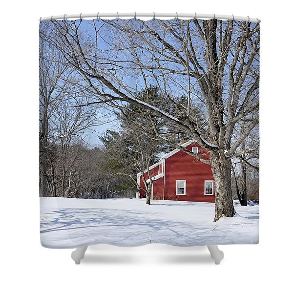 Classic Vermont Red House In Winter Shower Curtain