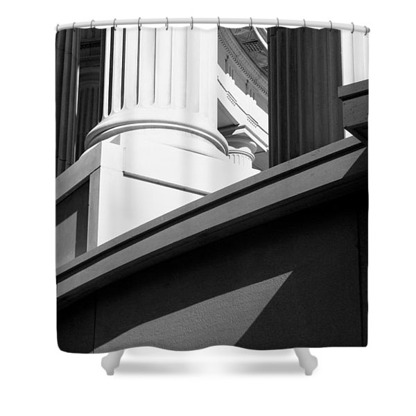Classical Architectural Columns Black White Shower Curtain