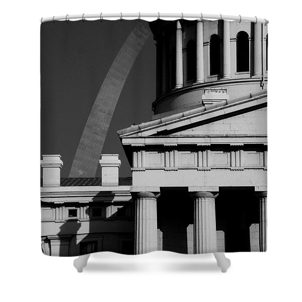 Classical Courthouse Arch Black White Shower Curtain