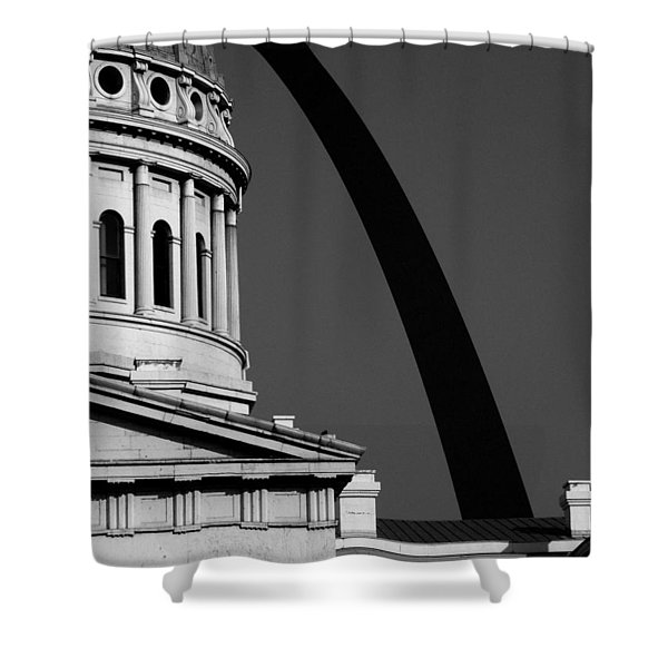 Classical Dome Arch Silhouette Black White Shower Curtain