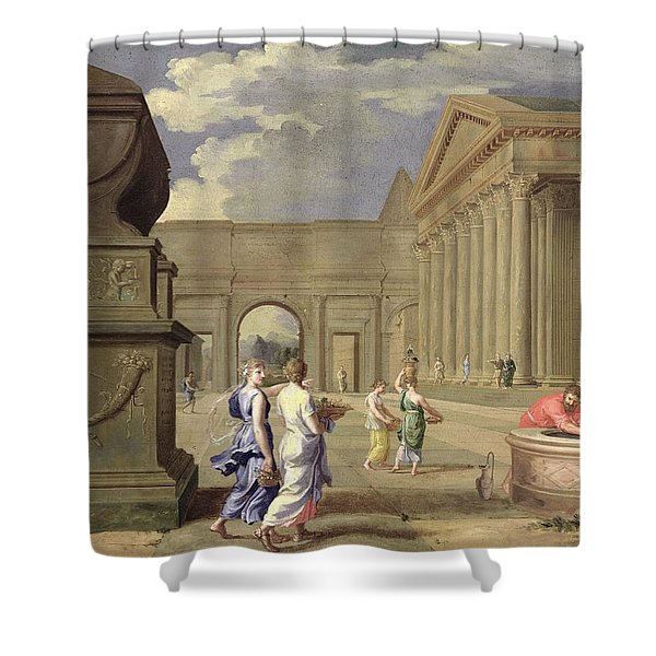 Classical Landscape Oil On Canvas Shower Curtain