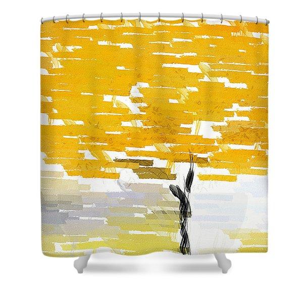 Classy Yellow Tree Shower Curtain