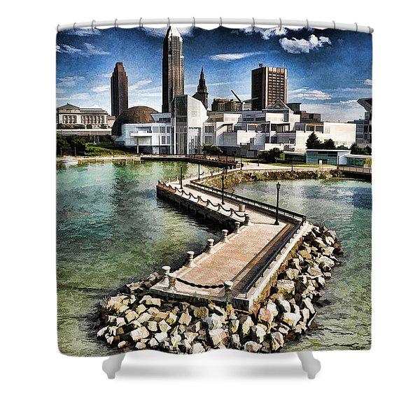 Cleveland Inner Harbor - Cleveland Ohio - 1 Shower Curtain