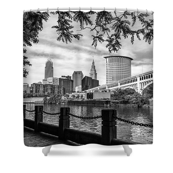 Cleveland River Cityscape Shower Curtain