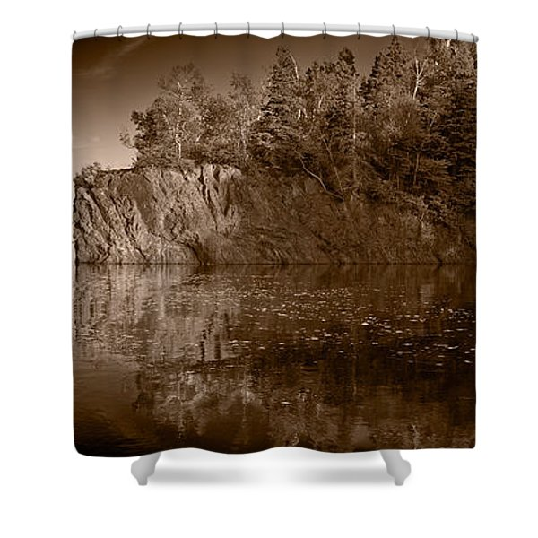 Cliff Face Northshore Mn Bw Shower Curtain