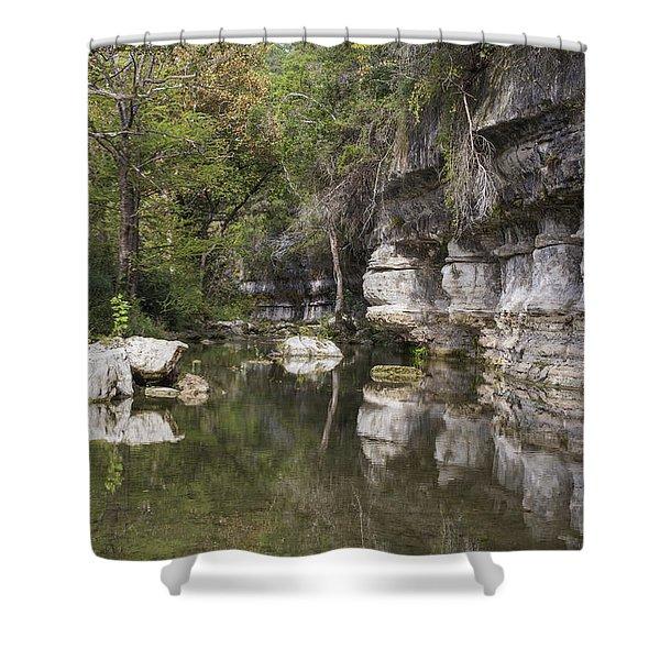 Cliffs Along Creek Shower Curtain