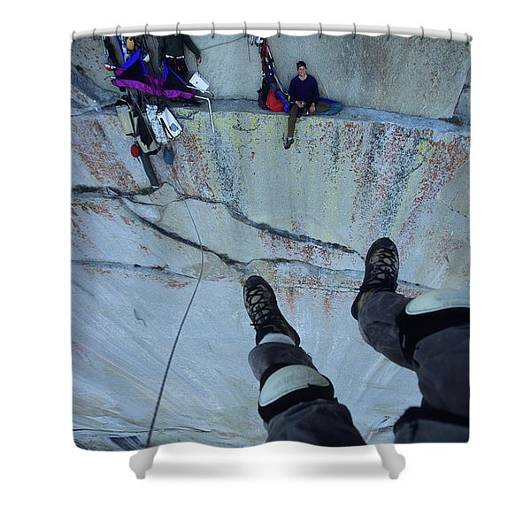 Climber View Of Ascending Cliff Shower Curtain