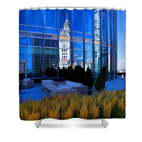 Clock Tower Reflection Shower Curtain
