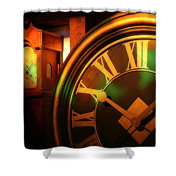 Shower Curtain featuring the photograph Clocks by William Selander