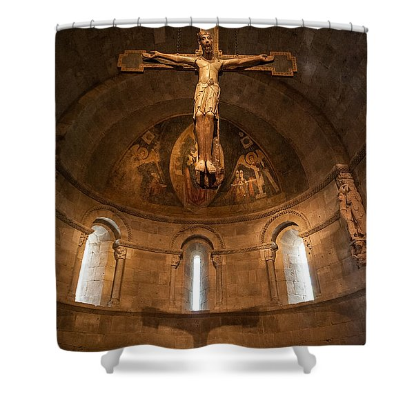 Cloisters Crucifixion Shower Curtain
