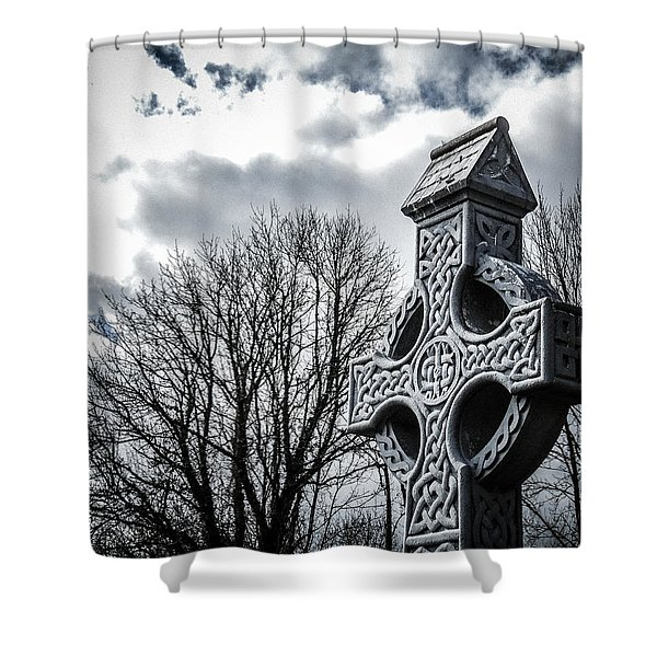Clondegad Celtic Cross Shower Curtain