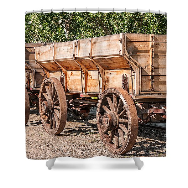 Close-up Of Grain Wagons Shower Curtain